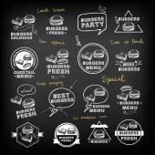 Burgers set of icons menu — Stock Vector