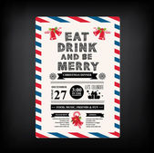 Christmas restaurant and party menu, invitation. — Vector de stock