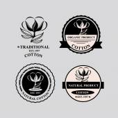Cotton icons, natural product. — Stockvector