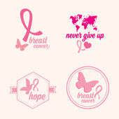 Breast cancer set of stickers — Stock Vector