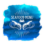 Blue seafood menu — Stock Vector