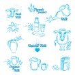 Natural milk with splashes, icons design — Stock Vector #70297209