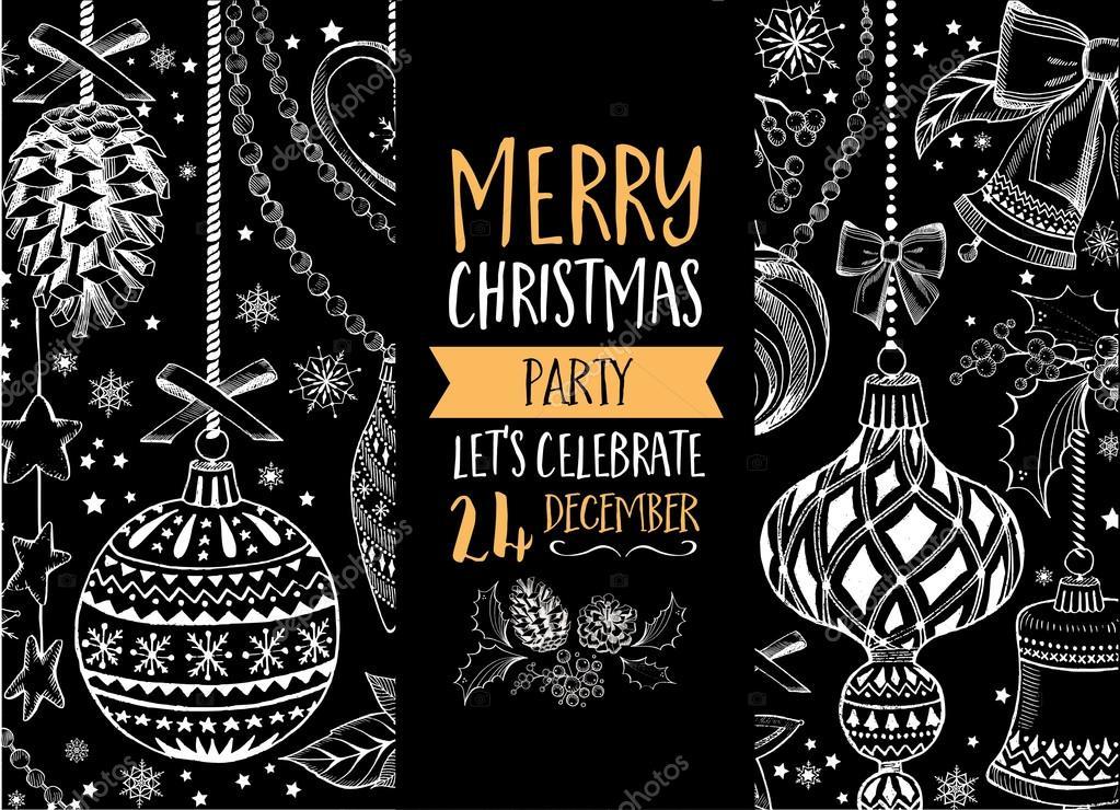 Kerstmis partij uitnodiging. Kerstkaart — Stockvector ...