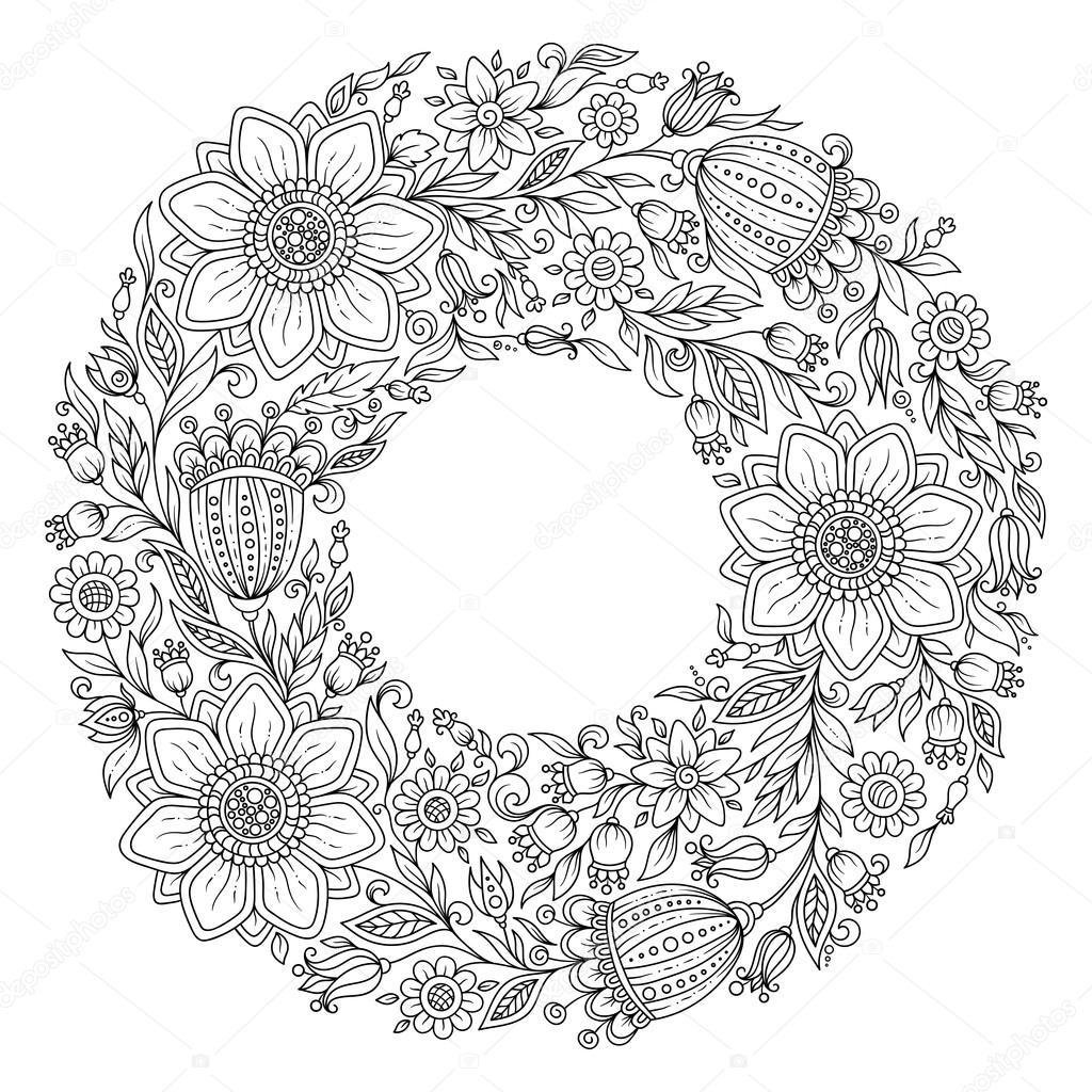 Цветы венок Раскраски страницы книги для взрослых Растр