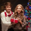 Young couple holding christmas gift — Stock Photo #51896129