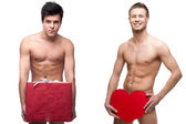 Two funny naked guys — Stock Photo
