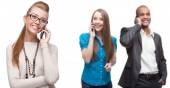 Happy smiling business people calling by mobile telephone — Stock Photo