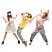 Group of young femanle hip hop dancers on white background — Foto Stock