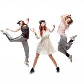 Group of young femanle hip hop dancers on white background — Foto de Stock