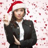 Business woman in santa hat — Foto Stock