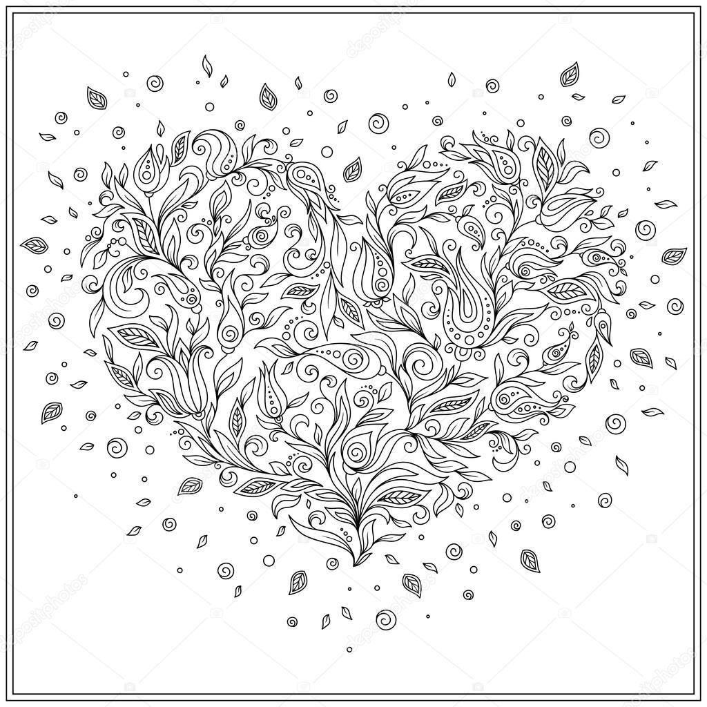 Coeur de fleur p...V Coloring Page