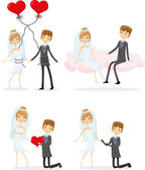 Bride and groom — Stock Vector