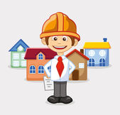 Engineer near house — Stock Vector