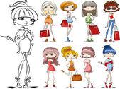 Ragazze alla moda dei cartoni animati — Vettoriale Stock