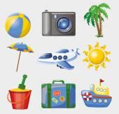 туристические иконки — Cтоковый вектор