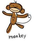 Maymun çizim — Stok Vektör