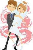 Wedding picture, bride and groom — Stock Vector