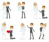 Set of wedding pictures, bride and groom — Stock Vector