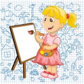 Karikatura kreslení dívka — Stock vektor