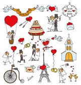 Bröllop doodles, brudgummen, brud — Stockvektor