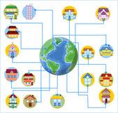 Huis pictogrammen op de aarde — Stockvector