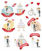 Set of wedding design element — Stock Vector