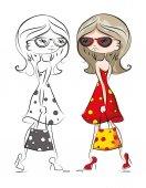 Cartoon fashionable girls — Stock Vector