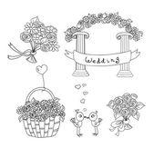 Conjunto de boda o San Valentín de la Doodle — Vector de stock