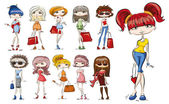 Cartoon fashionable girls — Stock Vector