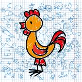 Children's drawings of  rooster , — Stock Vector
