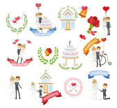 Set of wedding design elements — Stock Vector