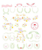 Wedding  set- wreaths, flowers — Vector de stock
