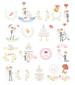 Set of wedding design template — Vector de stock