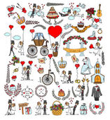 Doodle wedding set — Stock Vector