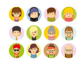 Set van platte avatar pictogrammen — Stockvector