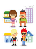 Character icons and houses — Stock Vector