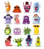 Set of hipster monsters — Stock Vector