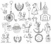 Conjunto de casamento doodle — Vetor de Stock