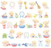 Verschillende baby's en kid's accessoires — Stockvector
