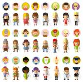 Character avatar icons in flat design — Stock Vector