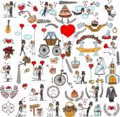 Gekritzel-Hochzeit set für Einladungskarten — Stockvektor