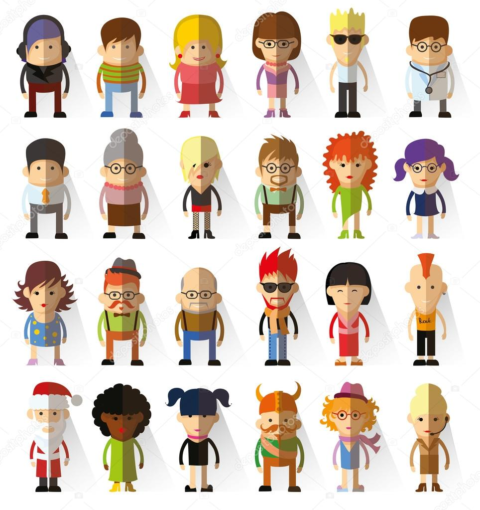 Flat Design Character Download : Character avatar icons in flat design — stock vector