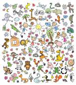 Drawings of doodle animals — Stock Vector