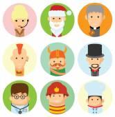 Set of cute character avatar — Stock Vector