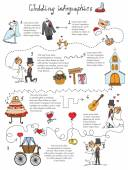 Set of wedding doodle infographics — Stock Vector
