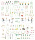 Set of wedding design — Stock Vector