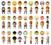 Set of cute character — Vector de stock