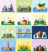Set of different landscapes — Stock Vector