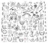 Doodle wedding set for invitation cards — 图库矢量图片