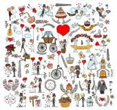 Wedding doodle template design elements — Stockvektor